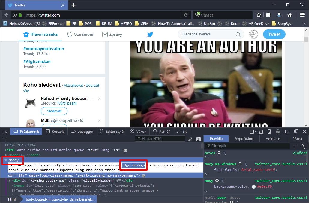 Dočasné navrácení původního vzhledu Twitteru ve Firefoxu se dá dosáhnout menší úpravou kódu stránky