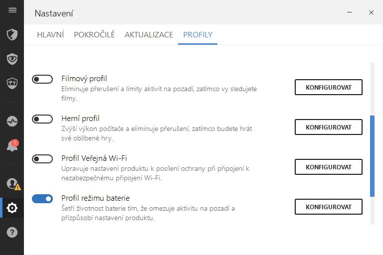 Nastavení Bitdefenderu nabízí hned pět provozních profilů aplikace