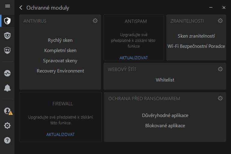 Ochranné moduly Bitdefenderu podrobně