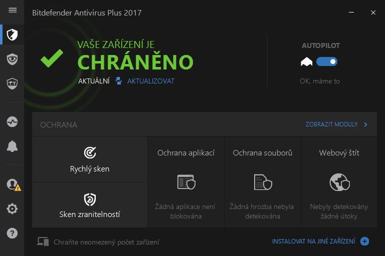 Už z prvního pohledu na rozhraní je jasné, že Bitdefender udělal maximum pro zjednodušení uživatelské interakce s programem