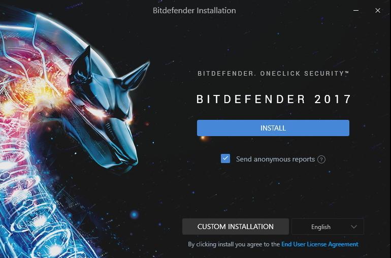 Instalátor Bitdefenderu nejdřív dotahá instalační data...