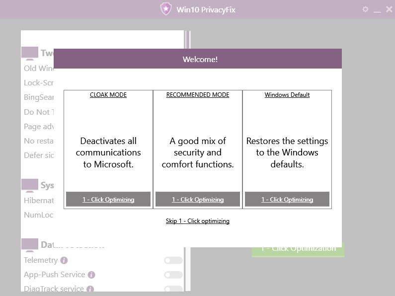 Win10PrivacyFix nabízí hned po startu rychlé provedení změn nastavení ovlivňujících sběr dat o uživateli