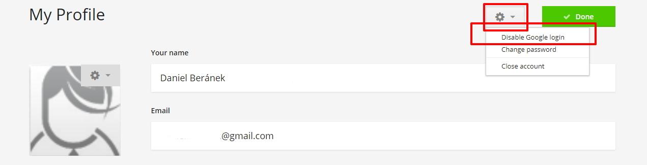 V nastaveních vlastního profilu pak zakážeme přihlašování pomocí Google účtu