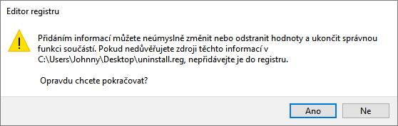 Změnu systémového registru je nejprve třeba potvrdit