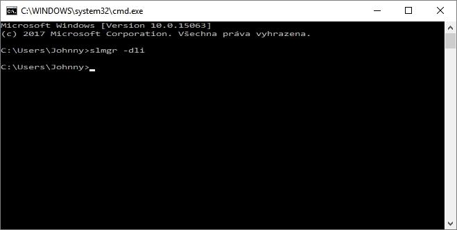 Příkaz slmgr -dli nám pomůže zjistit, jakou licenci operačního systému Windows 10 používáme