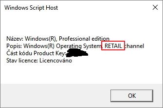 Windows Script Host napoví nejen edici Windows 10, ale také jejich licenci