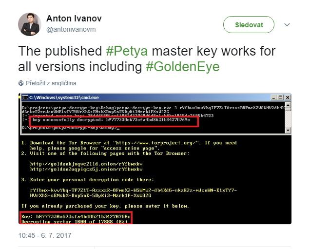 Publikovaný master klíč na Petyu funguje, a to na všechny verze včetně GoldenEye