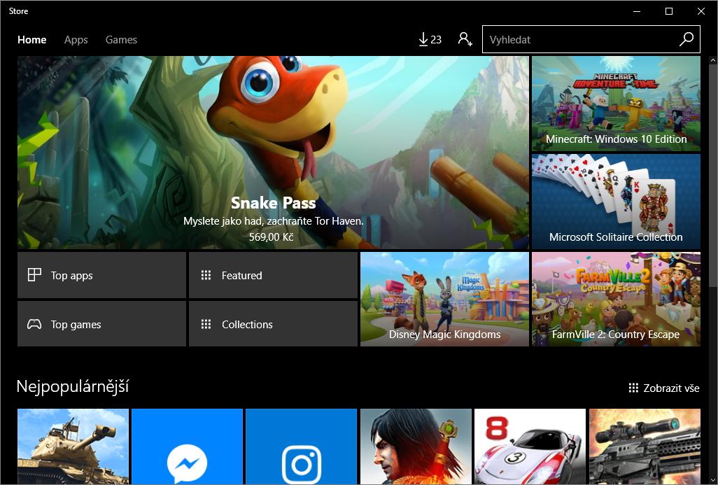 Windows Store zavoláme příkazem ms-windows-store: