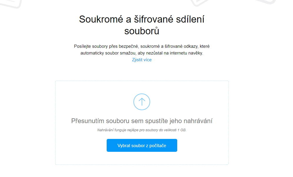 Send má podobu jednoduchého webového rozhraní pro sdílení souborů