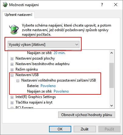 Nastavení volitelného pozastavení zařízení USB najdeme v pokročilých nastavení možností napájení