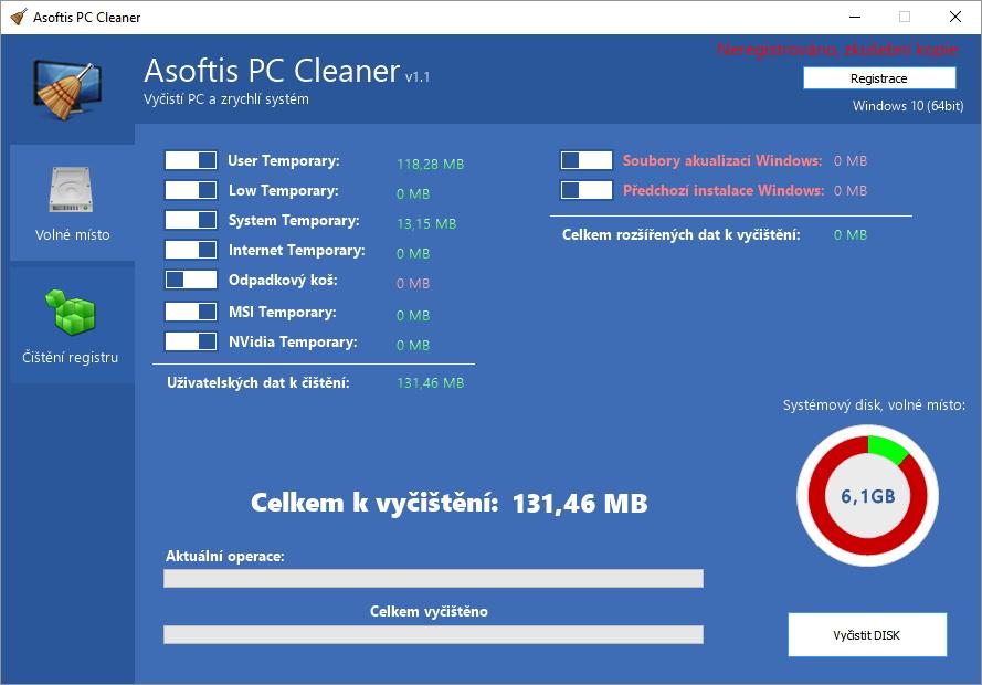 Již první pohled na Asoftis PC Cleaner napoví, že ovládání zvládne každý