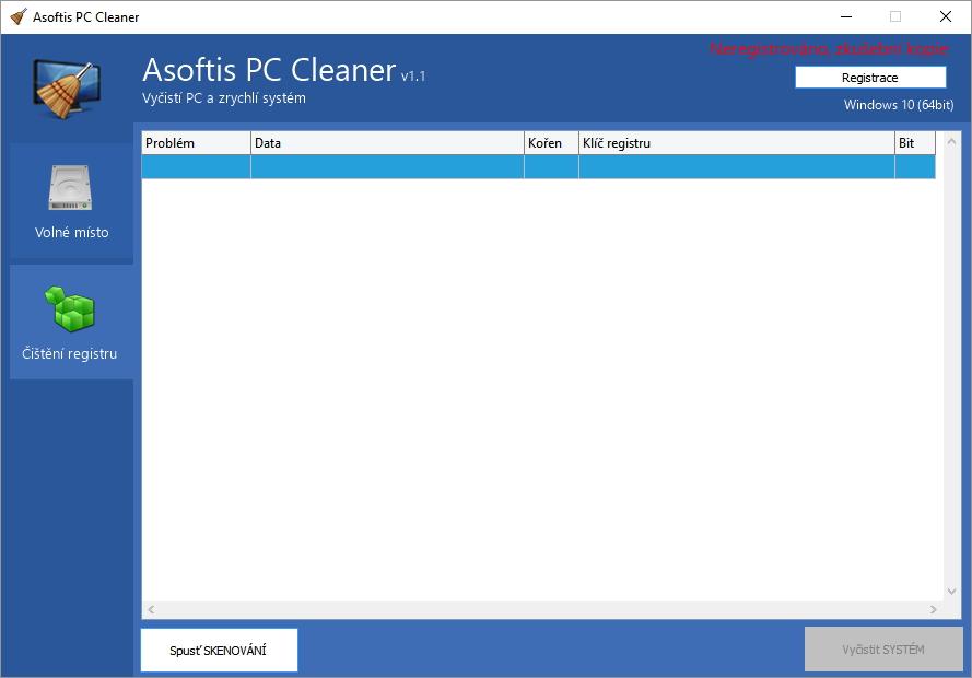 Asoftis PC Cleaner: rozhraní pro čištění systémového registru