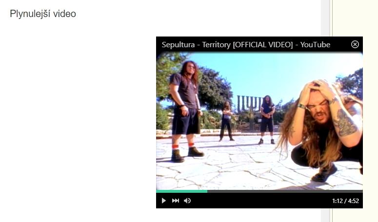 Pop-out video je nyní plynulejší a bez záseků