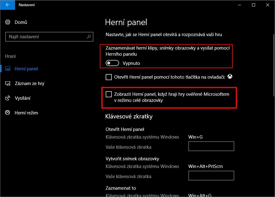 Dočasné řešení spočívá ve vypnutí fullscreen optimalizace Herního panelu, nebo vypnutí celého nástroje Herní panel