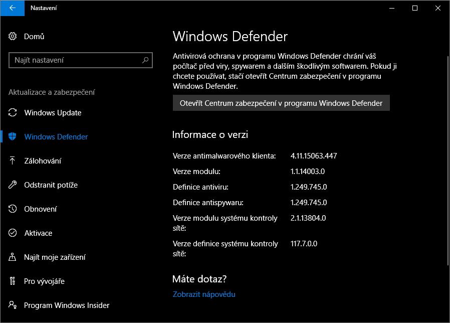 Centrum zabezpečení najdeme pod Nastavení - Aktualizace a zabezpečení - Windows Defender - Otevřít Centrum zabezpečení v programu Windows Defender
