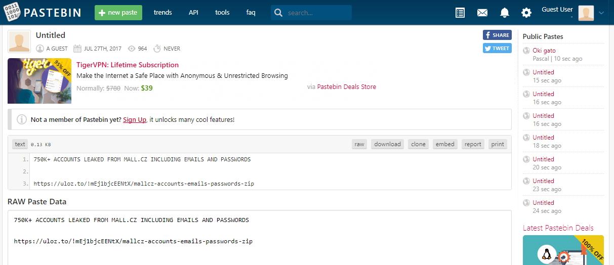 Odkaz na soubor obsahující databázi uniklých loginů bylo možno najít na Pastebin.com