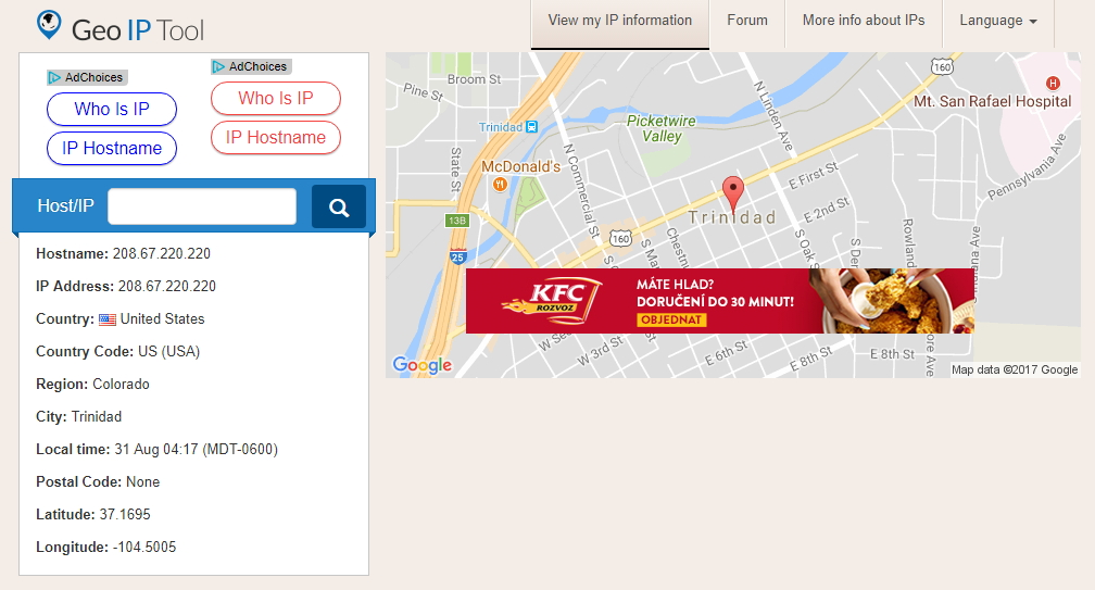 Geo IP Tool nám nabídne informace o DNS serverech odvozené z jejich IP adresy