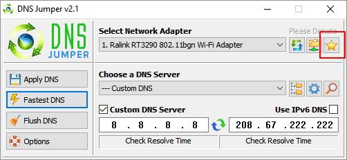 Nenápadně označená rychlé volby umožňují zazálohovat, obnovit a nastavit původní DNS servery