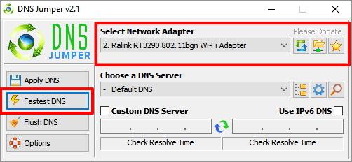 Nastavení DNS lze provést pro každý z dostupných síťových adaptérů