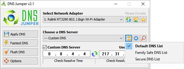 Zde snadno vybereme rodinu DNS serverů, s nimiž chceme pracovat