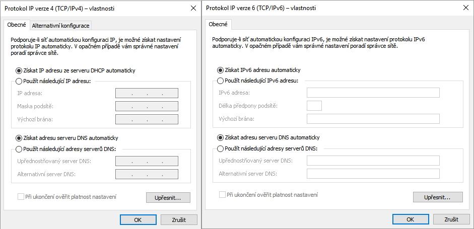 Nastavení DNS nechává na automatické zjišťování adres DNS serverů