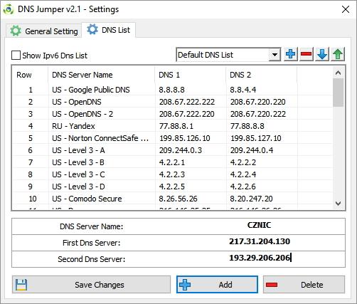 V Options - Settings - DNS List si upravíme seznam všech DNS serverů, s nimiž chceme pracovat