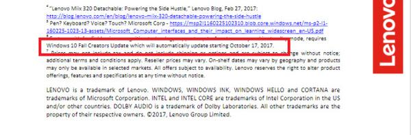 Obraz původní tiskové zprávy před tím, než ji Lenovo upravilo (Zdroj: Winaero.com)