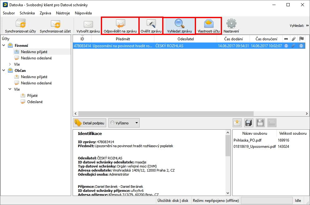 Další prvky usnadňující práci s datovou schránkou