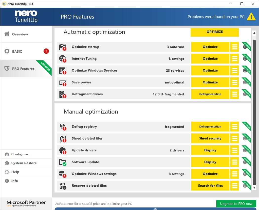 Kompletní nabídka nástrojů PRO verze