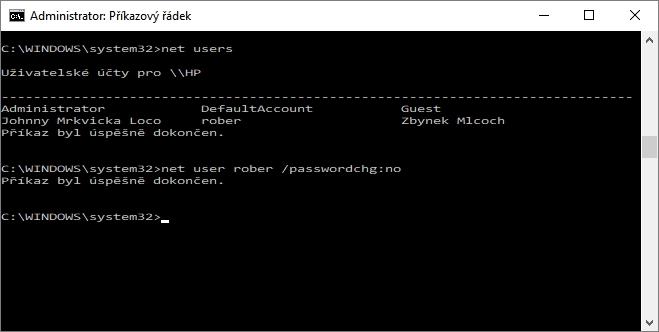 V příkazovém řádku s právy administrátora zadáme příkaz net user [uživatelské_jméno] /passwordchg:no