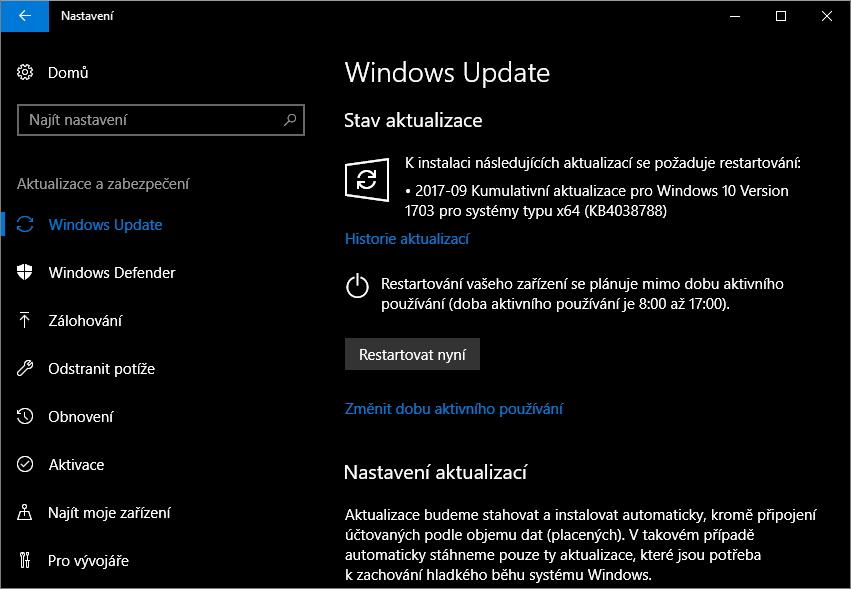 Poslední KB1038788 povyšuje poslední verzi Windows 10 Creators Update na sestavení 15063.608