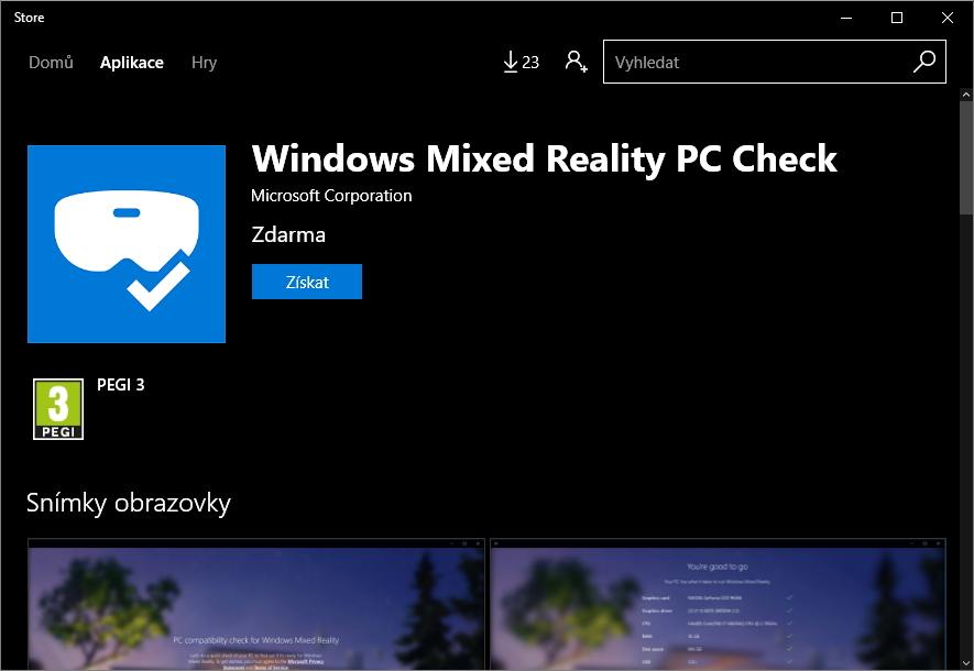 Windows Mixed Reality PC Check je i v českém Windows Storu - ale anglicky