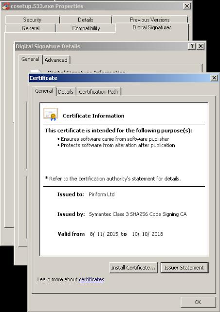Digitální podpis Piriformu od Symantecu na trojanizované verzi CCleaneru (Zdroj: Cisco Talos)