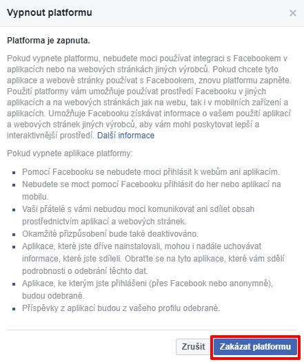 Jednou z cest je kompletně vypnout Facebook platformu...