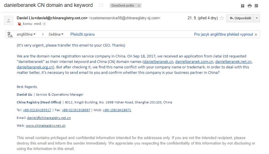 E-mailové adresy scammer