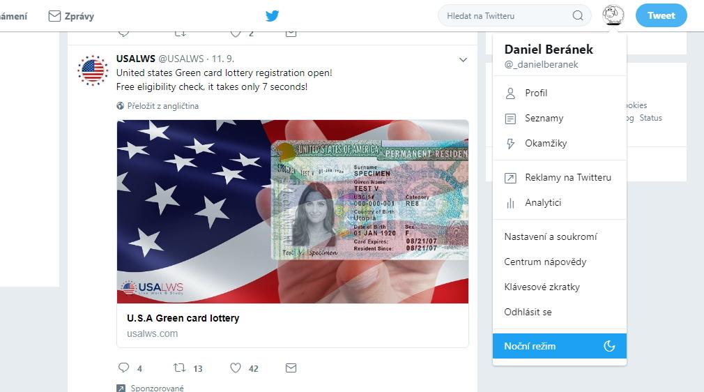 Pro aktivování nočního režimu Twitteru stačí rozkliknout avatara profilu a zvolit Noční režim