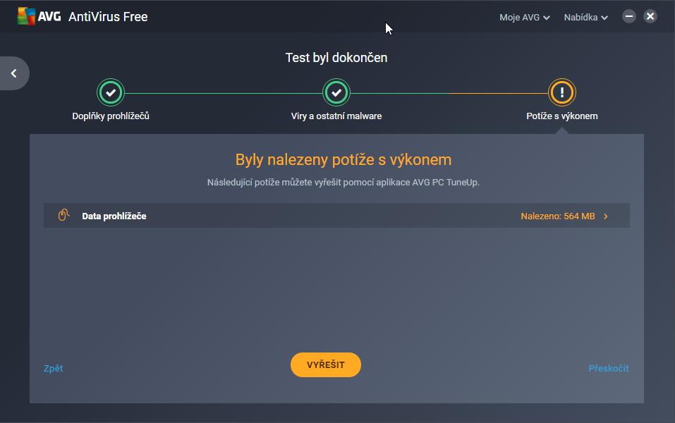 AVG AntiVirus Free patrně považuje i cache prohlížečů za hrozbu