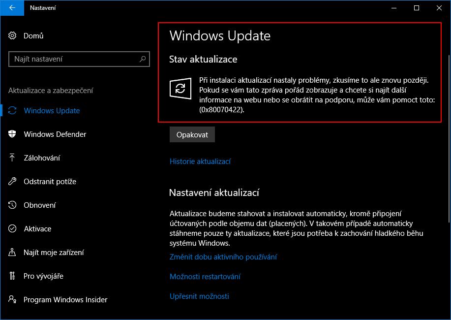 Funkčnost vypnutí Windows Update ověříme v Nastavení - Aktualizace a zabezpečení - Windows Update vyhledáním aktualizací