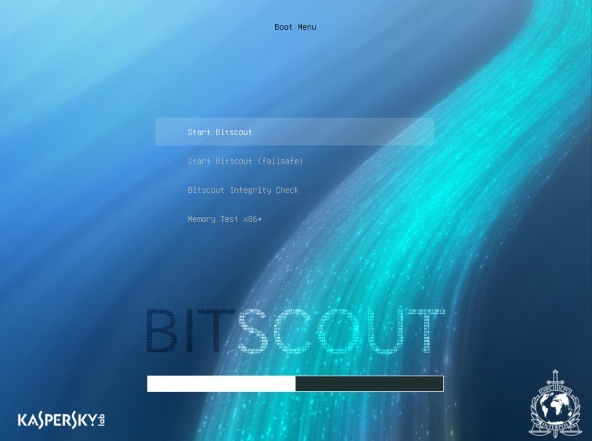Bootování detekčního softwaru Bitscout, vyvíjeného ve spolupráci Kaspersky Lab a Interpolu (Zdroj: Securelist.com)