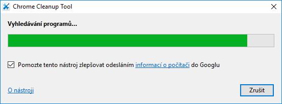 Chrome Cleanup Tool při separátním spuštění...