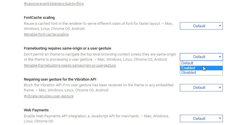Je třeba změnit nastavení položky Framebusting requires same-origin or a user gesture na Enabled (Experimentální nastavení zde vidíte v Material Designu Canary verze Chrome)
