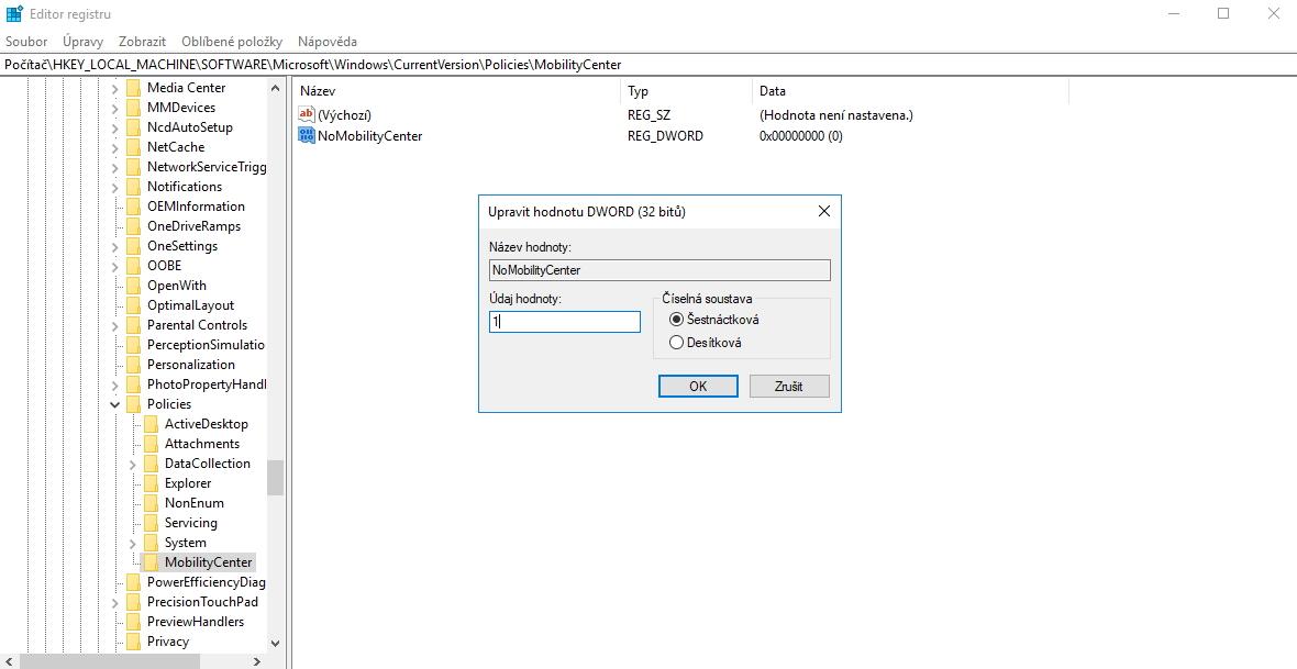 Úprava systémového registru pro všechny uživatele