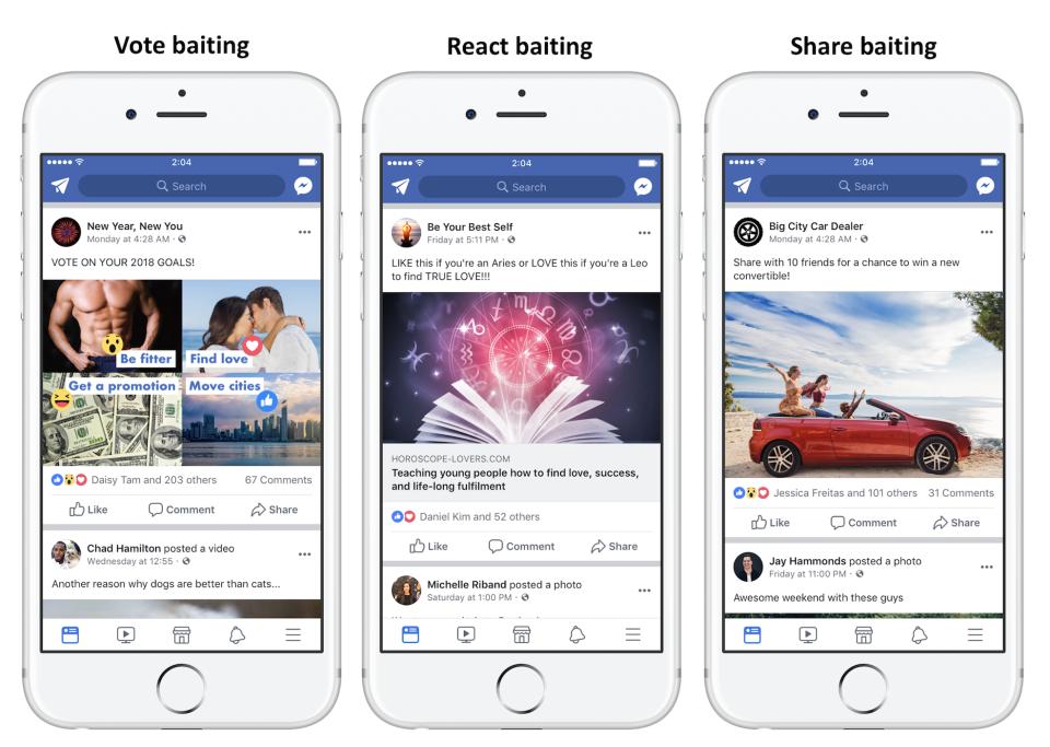 Jednotlivé podtypy engagement baitu (Zdroj: Facebook.com)