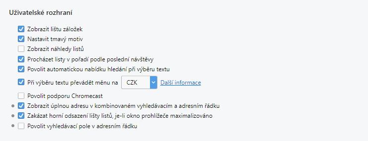 Zrcadlení pomocí Chromecast spustíte přes Nastavení - Prohlížeč - Uživatelské rozhraní - Povolit podporu Chromecast