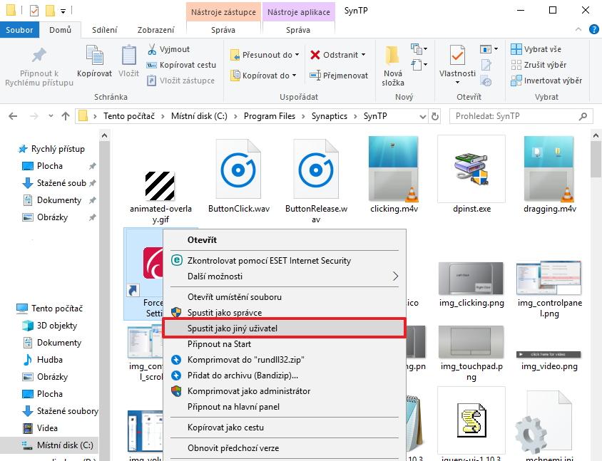 Spustit aplikaci jako jiný uživatel pomocí kontextového menu