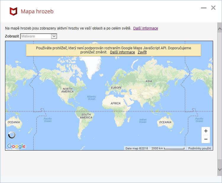 Mapa hrozeb se nekoná - využívá totiž již nepodporovaný prohlížeč