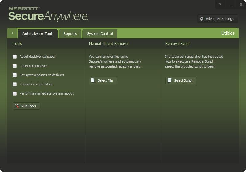 Nástroje Webroot SecureAnywhere AntiVirus jsou prosty jakýchkoliv zbytečností