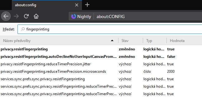 Ochranu proti fingerprintingu najdeme v pokročilých nastaveních Firefoxu