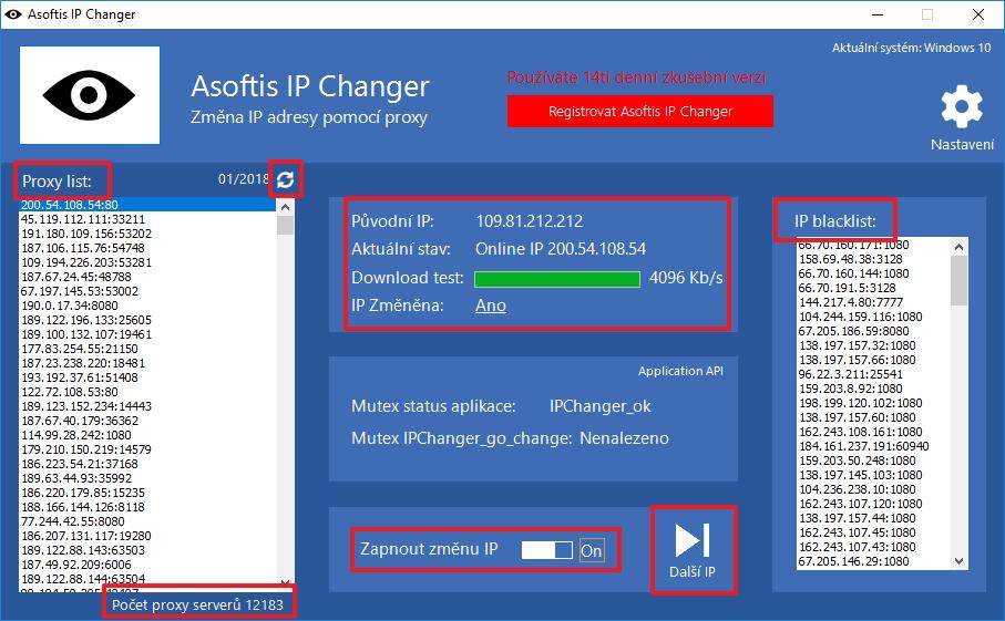 Aplikace po připojení ke vzdálenému serveru: vidíme seznam proxy, stav připojení a blacklist IP adres